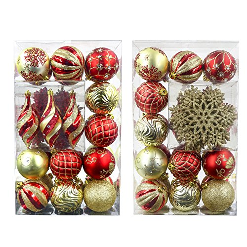 Valery Madelyn 40ct Luxury Red Gold Shatterproof Christmas Ball Ornaments Decoration,Themed with Tree Skirt(Not Included)