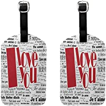 I Love You Men's luggage tag Newspaper Stylized International Valentines Words Contemporary Happy Day White Black Red (2 PCS)