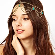 Vinzar Gold Indian Chain Hair Jewelry Boho Festival Turquoise Head Chain Pendant Headpiece Gold Bride Princess Hairstyle P...