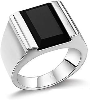 RXSHOUSH S925 - Anello da uomo in argento con pietra preziosa nera, in agata nera, idea regalo per figlio o fidanzato, mis...
