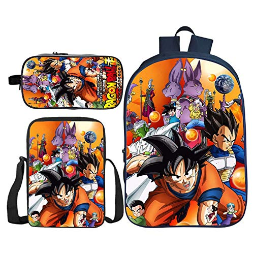 Mochila Dragon Ball Escolar, Mochila Dragon Ball Goku Mochila Dragon Ball Juego de 3 Bolsas Niña y Niños Primaria Mochilas y Bolsas Dragon Ball Chicas Impresión Bolsa Infantil (54)