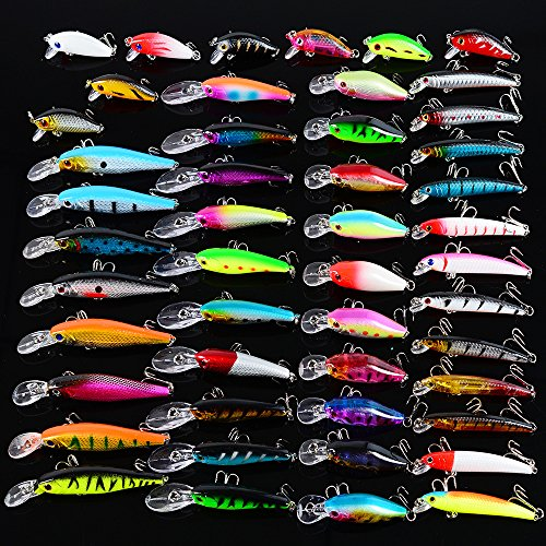 JasCherry 48 Piezas/Juego Luya Señuelos de Pesca Minnow Popper VIB Lápiz Cebos Duros Kit de Señuelos de Ojos 3D Adecuado para Agua Dulce y Pesca en el Mar Embalaje de Bolsa OPP#4