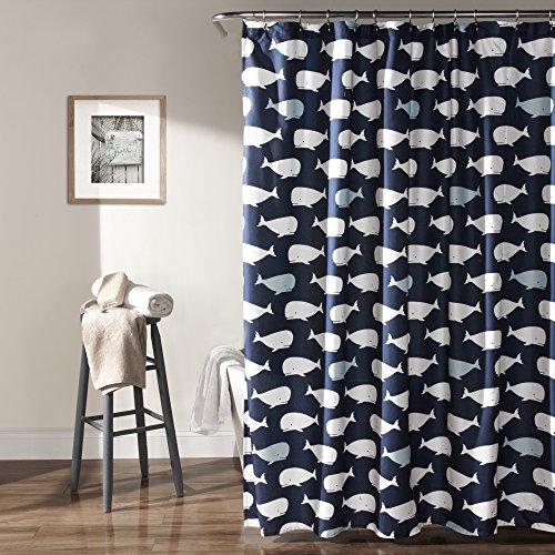 Lush Decor, Navy Whale Shower Curtain-Fabric Ocean Fish Animal Print Design for Kids, 72' x 72'