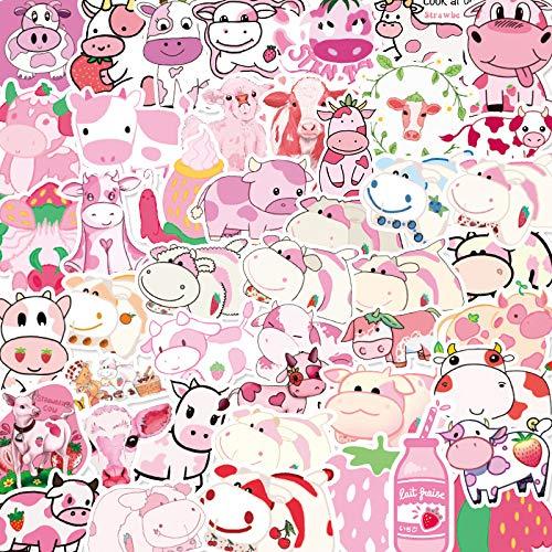 BLOUR 50 Pegatinas de Vaca del Zodiaco de Dibujos Animados Lindo Vaca Fresa Emoji papelería Taza de Agua Cuaderno Pegatinas Decorativas Impermeables