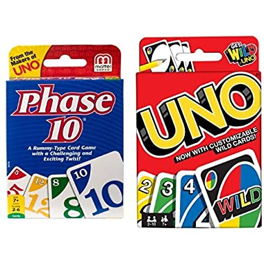 Phase 10 Card Game and uno Card Game Bundle