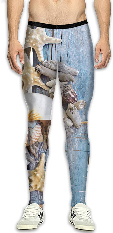 Techdecorhomee Mens Compression Leggings Yoga Pants Seashells Starfish Wood Beach Running Tights High Waist Sports Jogger White