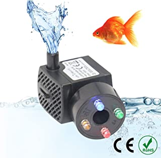 UTOPIAY 150L/H 2W Submersible Water Pump with 4 LED Light, Adjustable Ultra-Quiet Electric Fountain Pump with 5 ft Power Cord and 1 Nozzle for Pond Aquarium Fish Tank Hydroponics(2PCS)