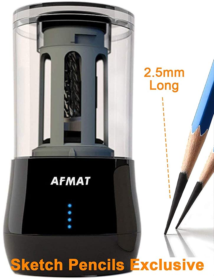 Long Point Pencil Sharpener, AFMAT Professional Electric Pencil Sharpener, Rechargeable Heavy Duty Art Pencil Sharpener, Extra Long Pencil Sharpener for Colored & Drawing Sketching Pencils Art Pencils