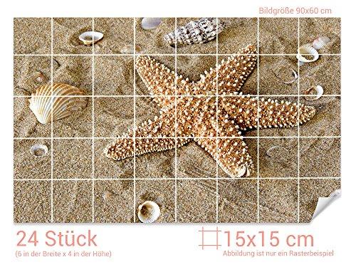 GRAZDesign Fliesenaufkleber Muscheln/Seestern für Kacheln Bad-Fliesen mit Fliesenbildern überkleben (Fliesenmaß: 15x15cm (BxH)//Bild: 90x60cm (BxH))