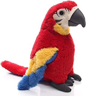 Levenkeness Macaw Parrot Plush, Red Bird Stuffed Animal Plush Toy Doll Gifts for Kids 9.8""