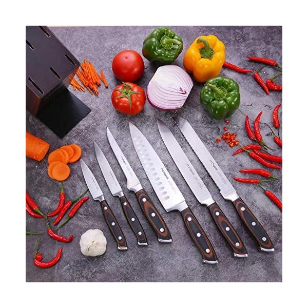 homgeek Cuchillos Cocina, Juego Cuchillos Cocina 7 Piezas Hecho de Acero Inoxidable Alemán 1.4116, Juego de Cuchillos de…