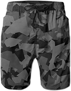 Camouflage Geometric Camo Mens Board Shorts Beach Lightweight Home Casual Shorts Swim-Trunks with Quick Dry