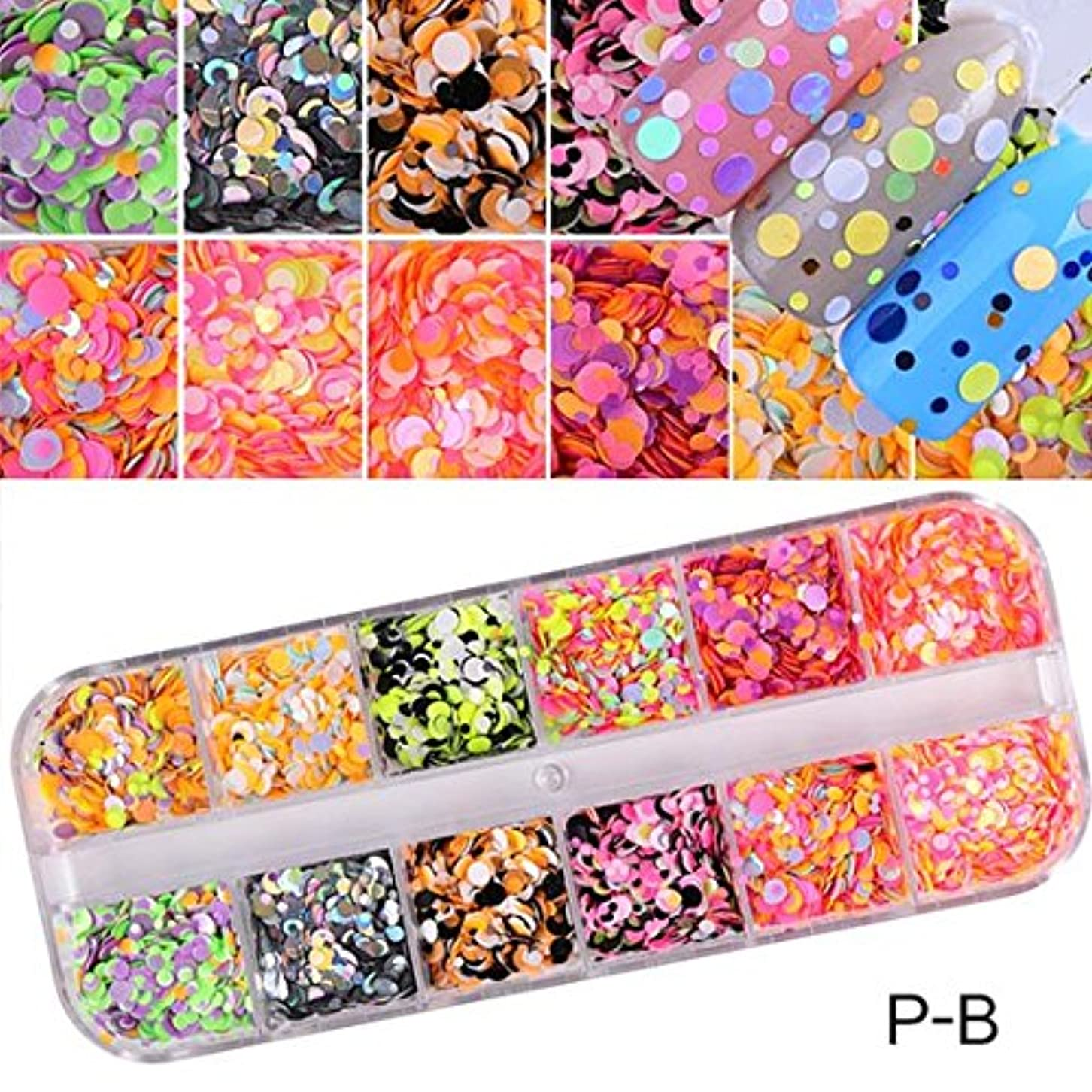 クレデンシャル家主系譜1 Set Dazzling Round Nail Glitter Sequins Dust Mixed 12 Grids 1/2/3mm DIY Charm Polish Flakes Decorations Manicure Tips Kit