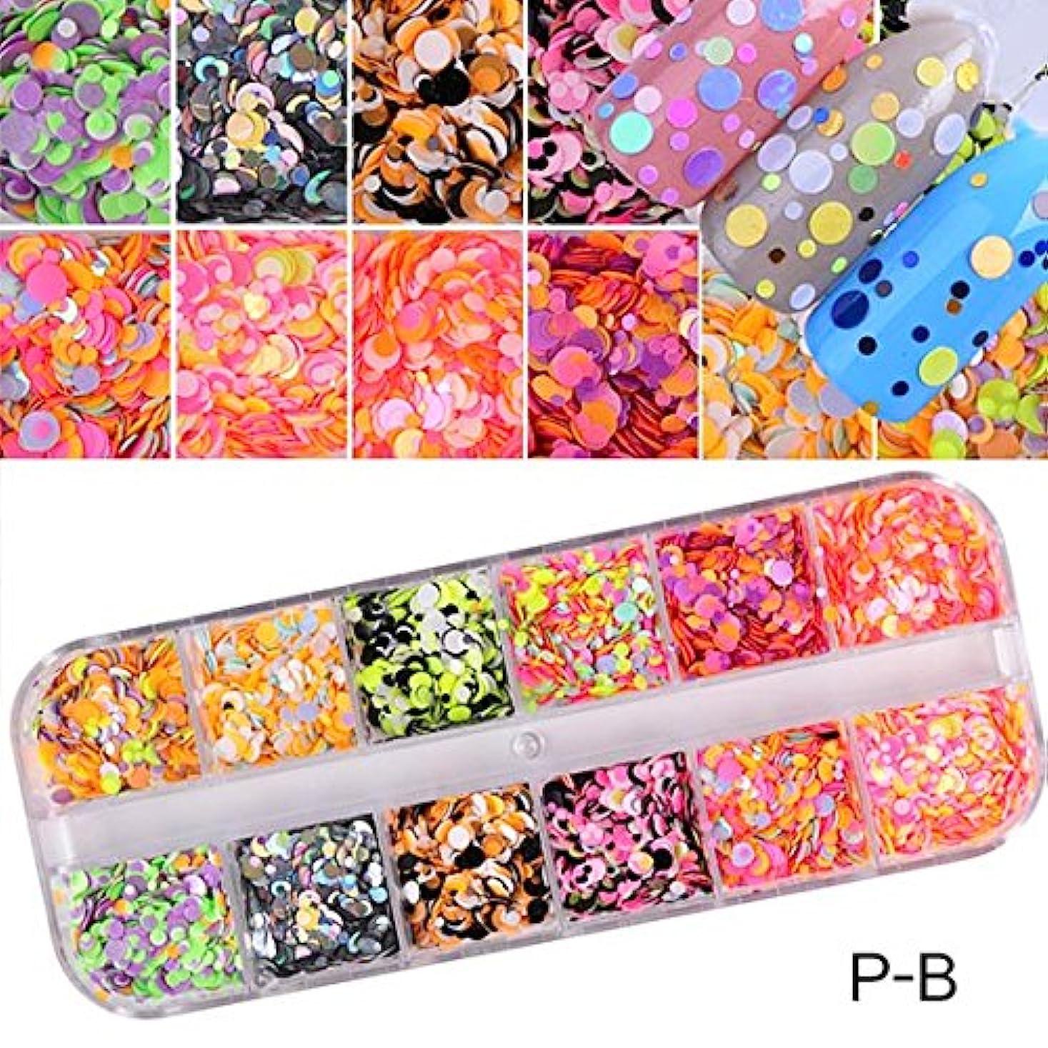 事業内容固める信頼性1 Set Dazzling Round Nail Glitter Sequins Dust Mixed 12 Grids 1/2/3mm DIY Charm Polish Flakes Decorations Manicure Tips Kit