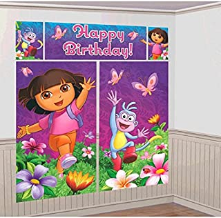 Amscan Colorful Dora's Flower Adventure Party Scene Setter Wall Decorating Kit (5 Piece), Purple, 59 x 32 1/2