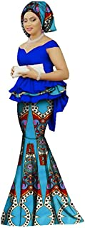Womens African Mermaid Skirt Set Peplum Tops & Headwrap & Long Skirt