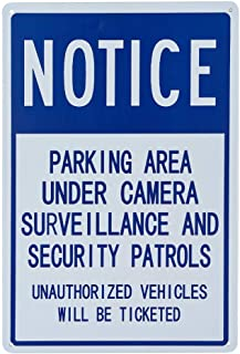 dojune-Notice Sign: Parking Area Under Camera Surveillance and Security Patrols Label, Metal Sign