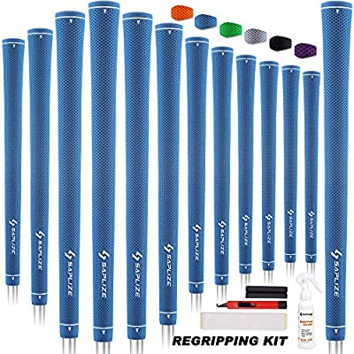 SAPLIZE Rubber Golf Grips, 13 Set with Complete Regripping Kit, Standard Size, Golf Club Grip, Blue