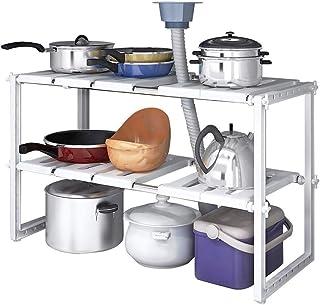 Porte-ustensiles étagères Multifonction Cuisine étagère, Sous Organisateurs d'évier - 2 Tier Extensible Maison multifoncti...