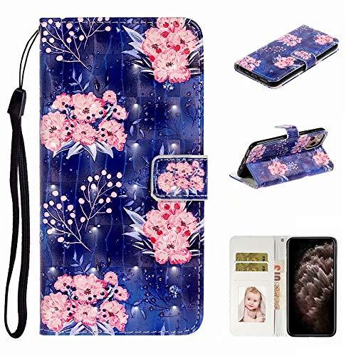 Nadoli Verkörpern 3D Bewirken Elegant Rosa Blumen Entwurf Pu Leder Ständer Karte Halter Magnetisch Lanyard Brieftasche Flip Hülle Tasche für iPhone 11 Pro 5.8″