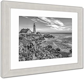 Ashley Framed Prints Portland Head Light, Lighthouse in Fort Williams Park in The Early Morning, Wall Art Home Decoration, Black/White, 34x40 (Frame Size), Silver Frame, AG32466803