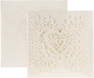 Anself 20Pcs Lace Wedding Party Invitation Card for Bridal Shower Birthday, Heart Pattern Pattern 2 Beige