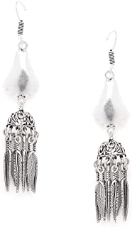 ZeroKaata/Fashion Jewellery Distorted Leaf Tribal Jewellery Long Jhumkis With Hanging Silver Bells For Women /& Girls