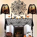 Halloween Decorations Indoor, Set of 4 Black Lace Decors, Including Spider Web Fireplace Mantel Scarf Cover,Spiderweb Round Lace Table Topper Tablecloth, 2Pcs Spider Web Lamp Shade Cover Scarf
