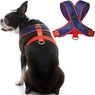 Gooby Dog Harness - Small, Navy(Red) - Comfort X Head-in V2 Small Dog Harness with Patented Choke-Free X Frame and Soft Me...
