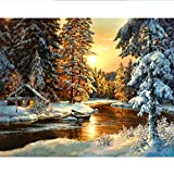 5D Diamond Painting Sunset Forest Cottage in Winter Full Drill by Number Kits, SKRYUIE DIY Rhinestone Pasted Paint with Diamond Set Arts Craft Decorations (10x14inch) a015