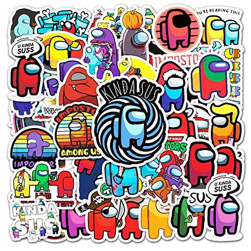 WUWEI Juego de Dibujos Animados Decorativo Pegatina Maleta portátil Coche refrigerador Pegatina Impermeable 50 Uds