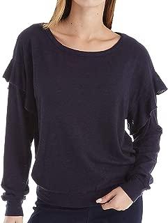 Three Dots Women's Vj2691 Eco Knit Long Sleeve Top W/Ruffle