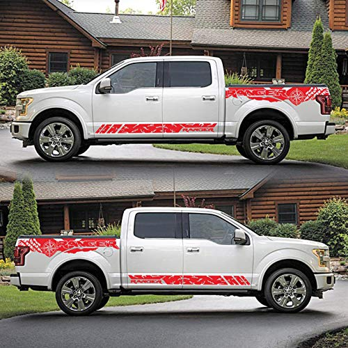 BTOEFE Etiqueta engomada gráfica del Vinilo de la Raya de la Falda Lateral de la Puerta del Coche, para los Accesorios gráficos de la decoración del Coche del neumático del Maletero de Ford Ranger