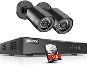 ANNKE Security Camera Systems 4CH 1080P Lite H.264+ DVR with 1TB Hard Drive Pre-Installed and (2) 1080P Weatherproof CCTV Bullet Cameras, Email Alert with Snapshots
