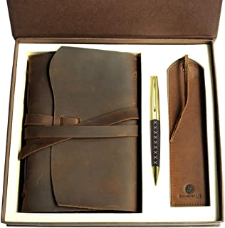$43 » Leather Journal Gift Set with Antique Leather Bookmark + Pen, Handmade Writing Notebook 8x6 Inches Unlined Leather Bound Daily Notepad For Men For Women, Best Luxury Gift Box Travel Diary for all ages