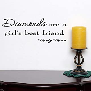 Wall Decal Removable Quote Decor Design Decal Diamonds are A Girl's Best Friend Marilyn Monroe Saying