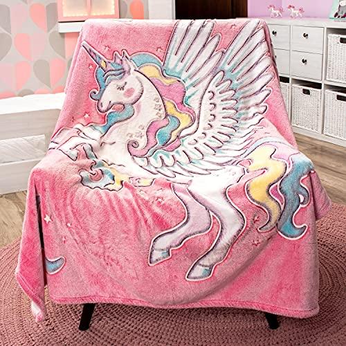 GLOWING SNUGGLES Glow in The Dark Unicorn Blanket - Fluffy Plush Pink...