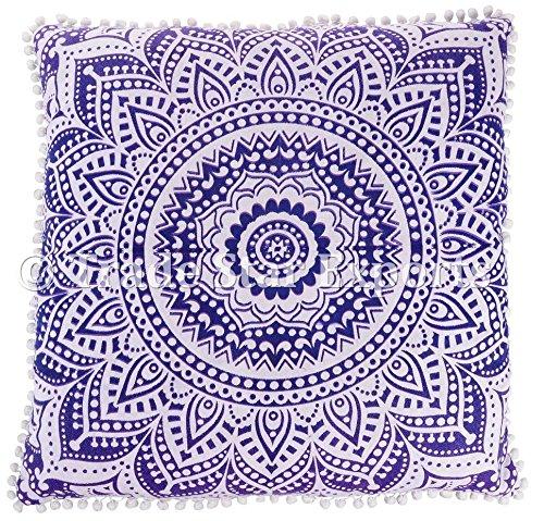 Trade Star Housse de coussin carrée indienne en coton - 26 x 26 cm - Housse de coussin de méditation ethnique - Mandala - Décoration d'intérieur - Violet