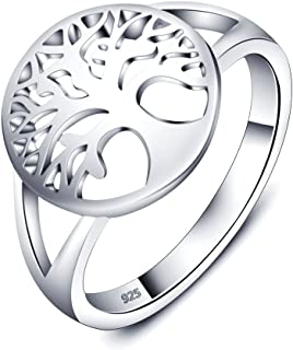 925 Sterling Silver Family Tree Rings for Women Tree of Life Healing Rings for Mother Jewelry Gifts
