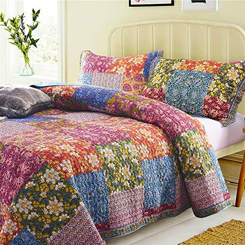 HJTLK Gesteppte Tagesdecke 3-teiliges Set King Size 240 * 260 cm 100% Baumwolle Decke Im Amerikanischen Stil Patchwork Blumen Muster Bettwäsche Bettdecke Mit 2 Kissenbezügen