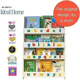 Tidy Books ® Estanteria infantil   Librería de pared para niños con abecedario 3D de colores   Madera   Blanca   115 x 77 x 7 cm   ECO Friendly   Hecho a mano   La original desde 2004