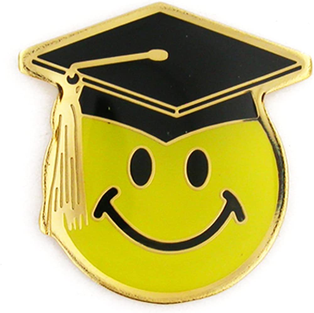 PinMart Smiley Face with Graduation Cap School Lapel Pin