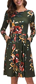 Women Short/Long Sleeve Round Neck Pleated Loose Swing Floral Midi Dress with Pockets