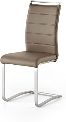 Stühle in Beige Kunstleder Freischwinger Gestell aus Edelstahl (2er Set)