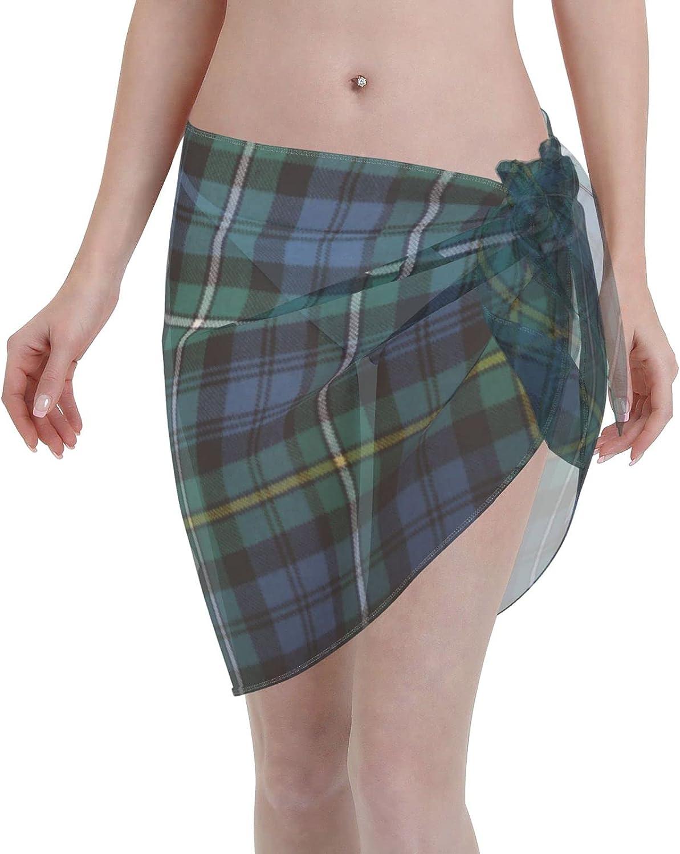 Black Grey Tartan Plaid Scottish Abstract Women Short Sarongs Beach Wrap Bathing Suits Cover Ups Sheer Short Skirt Bikini Chiffon Scarf