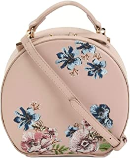 Floral Embroidery Round Blush Hand Bag Crossbody