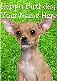 Tarjeta de felicitación de cumpleaños personalizable con diseño de perro chihuahua hs105 en el jardín, tamaño A5