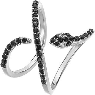خاتم مفتوح قابل للتعديل من Caselast ثعبان قابل للتعديل بتصميم ريترو حيوان كوبرا فينجر مجوهرات هدايا للنساء والرجال (فضي)