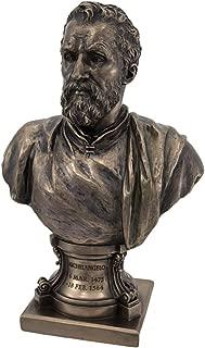 Italian Sculptor Artist Michelangelo Buonarroti Figurine 9 1/2 Inch Bronze Resin Bust Statue