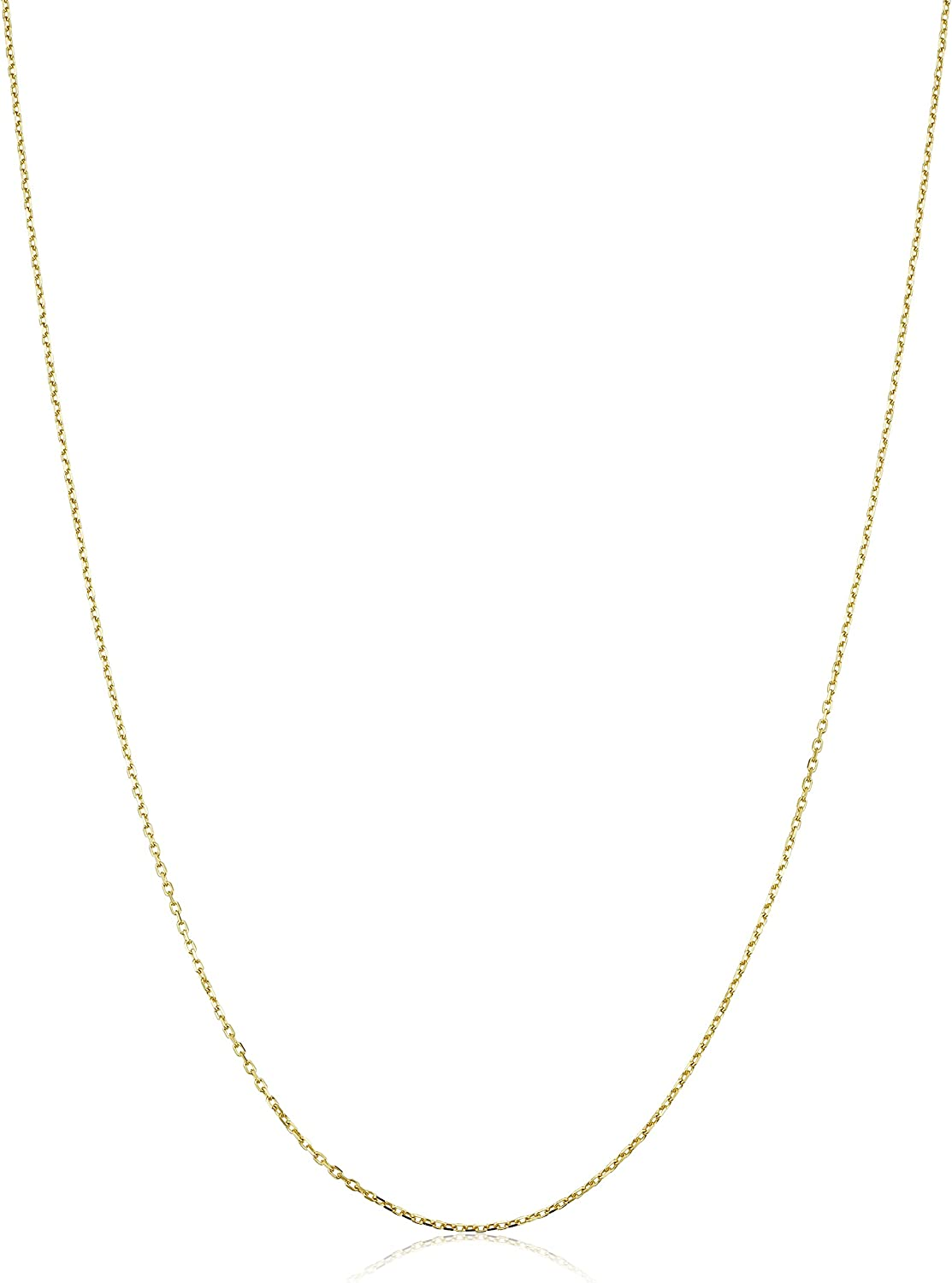 14k Yellow Gold Diamond Cut Cable Chain Necklace with Extender (0.6 mm, adjustable from 17 to 18 inch)